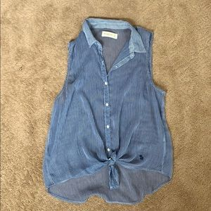 Abercrombie and Fitch blue and white stripped top